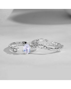 Matching Couple Engagement Rings Set for 2 Persons