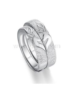Kissing Deers Couple Promise Rings Set for 2