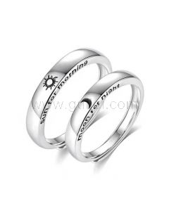 Sun and Moon Couple Promise Rings Set