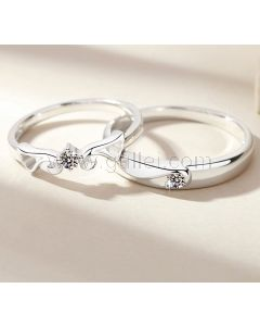 Custom Angel Wings Couples Promise Rings for Two