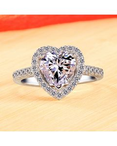 0.6ct Heart Diamond Womens Promise Ring with Name