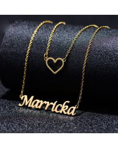 Double Chain Heart Name Necklace