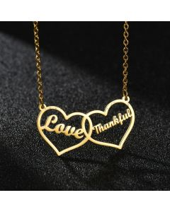 Two Names Connecting Heart Pendant Necklace
