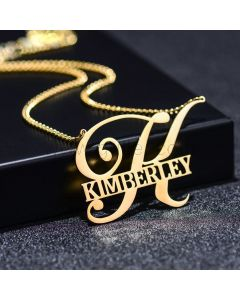 Custom Name Initial Artistic Necklace for Her
