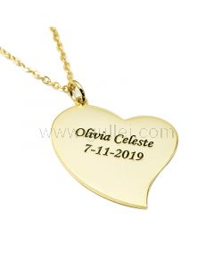 Heart Shaped Custom Engraved Necklace