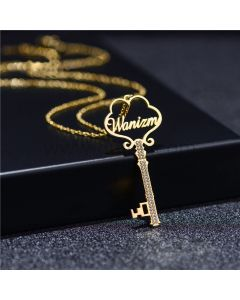 Custom Name Key Pendant Necklace for Her
