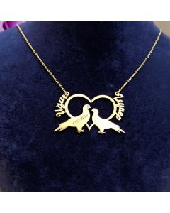 2 Custom Names Connecting Heart Necklace