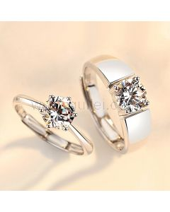 1 Carat Cubic Zirconia Couple Rings Set for 2