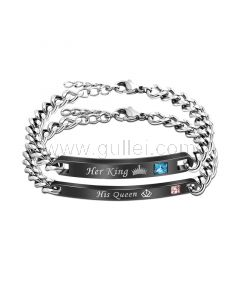 Her King His Queen Personalized Bracelets Set for 2