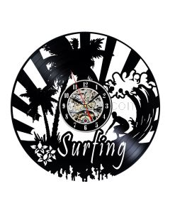 Decorative Vinyl Record Wall Clock Gift for Surfers