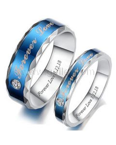 Personalized Forever Love Promise Couple Rings Set of Two