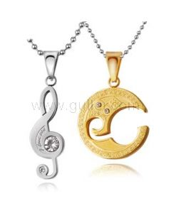 Personalized Engraved Music Notes Friendship Necklaces Set for 2
