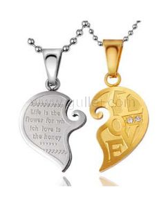 Connecting Hearts Engraved Couples Necklace Set for 2