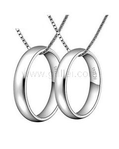 Engraved Sterling Silver Matching Rings Charm Necklaces Set for 2
