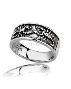 Custom Scorpion Promise Ring for Him Silver 10mm