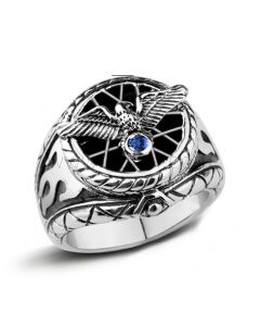 Engraved Eagle Wings Promise Ring for Boyfriend Silver 19.4mm