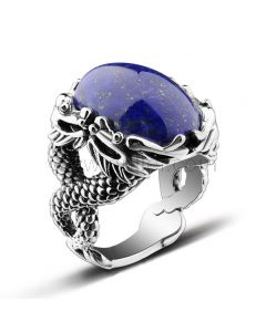 Personalized Mens Promise Ring Lapis Lazuli Silver 21.3mm