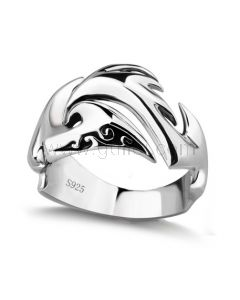 Unique Sterling Silver Wedding Ring for Him with Custom Engraving