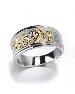 Personalized Mens Engagement Ring Gold Plated Silver 10.4mm