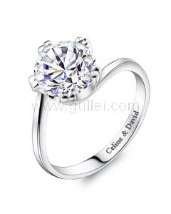 Engraved Diamond Women Engagement Ring Sterling Silver