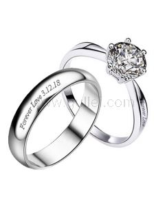 Custom His and Hers Sterling Silver Wedding Bands for 2