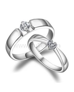 Personalized Sterling Silver Heart Shaped Engagement Rings Set for 2
