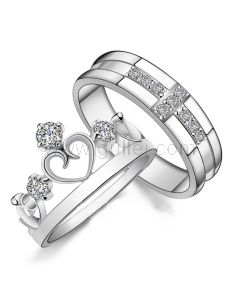 Engraved Married Couples Unique Crown Rings Set for 2