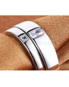 Personalized Platinum Plated Silver Modern Wedding Bands for 2
