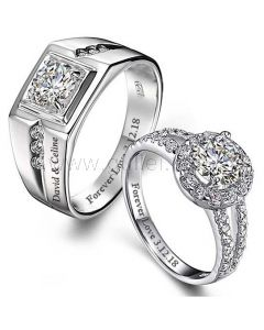 Custom Sterling Silver Engagement Couple Rings Set