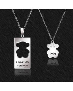 Personalized Name Sterling Silver Bear Couples Necklaces Set