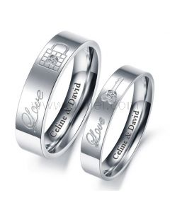 Engraved Titanium Couples Promise Rings Set for 2