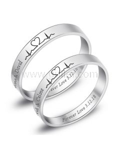Engraved Heartbeat Couple Promise Rings for Two