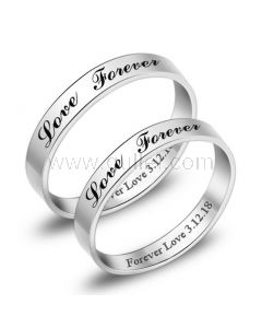 Engraved Love Forever Promise Rings for Him and her