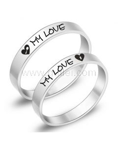 Engraved Titanium Promise Anniversary Couples Rings Set for 2