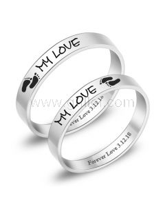 Engraved Titanium Anniversary Rings for Him and Her