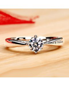 0.39 Carat NSCD Diamond Women Engagement Ring with Name