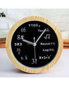 Mathematics Theme Cute Wooden Table Clock for Studyroom