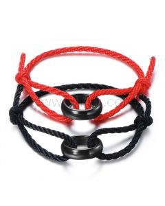 Black Matching set of his and her bracelets set best birthday gift