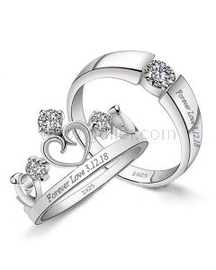 Crown Couple Rings with Engraving Sterling Silver