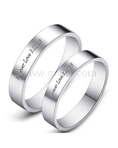 Custom His and Hers Sterling Silver Promise Rings Set for 2