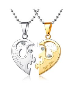 Engraved Half Heart His and Hers Necklaces Set for Two