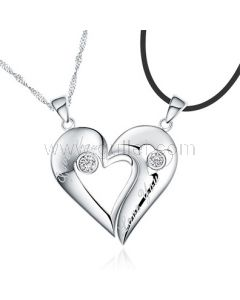 Engraved Half Hearts Couples Necklaces Set for Two 925 Sterling Silver