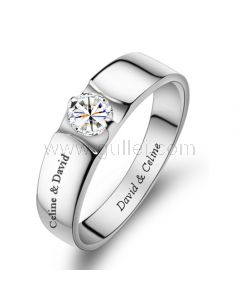 Personalized Name Promise Ring for Men 3.5mm Sterling Silver