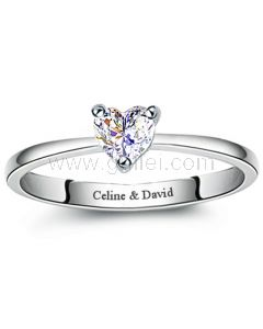 Personalized Heart Diamond Wedding Ring for Women