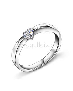 Heart Shaped Engagement Diamond Ring with Names Engraved