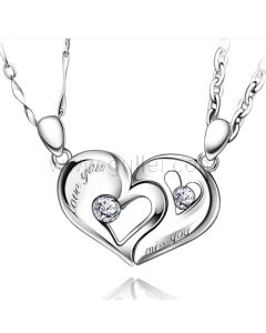 Personalized Connecting Half Hearts Necklaces for Boyfriend and Girlfriend
