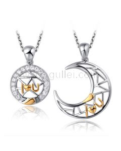 Interlocking Heart His Hers Necklaces Set with Custom Names