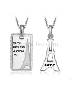 Personalized Engraved Eiffel Tower Couples Necklaces Set for 2