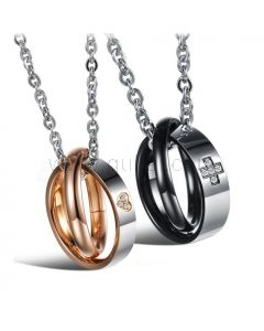 Engraved Heart Ring Couple Pendants for Girlfriend and Boyfriend