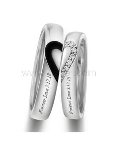 Personalized Half Heart Wedding Rings Set for a Couple